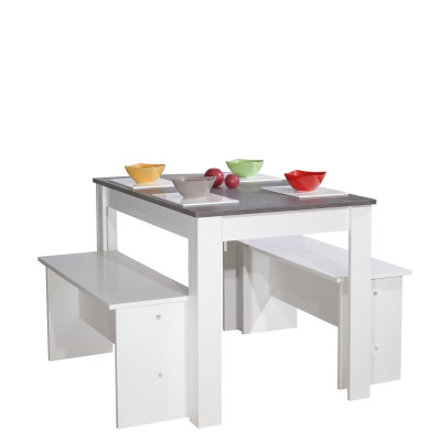 Dining Table with Benches | White & Concrete