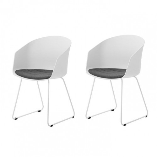 Set of 2 Chairs Star | White / Grey Fabric