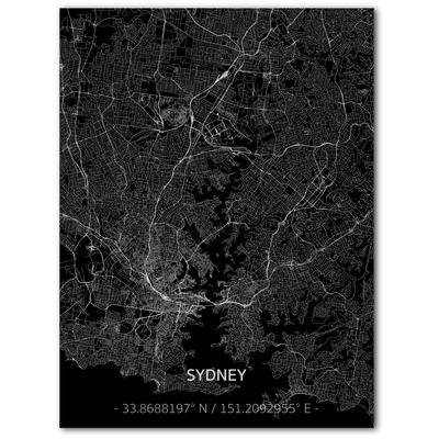 Metal Wall Decoration | City Map | Sydney-100 x 80 cm