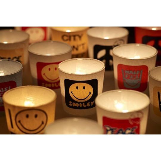 Teelicht-Smiley | 4er-Set | Gelb & Weiß