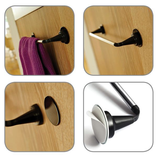 Stainless Steel Kitchen Rail set with metal plate-Black