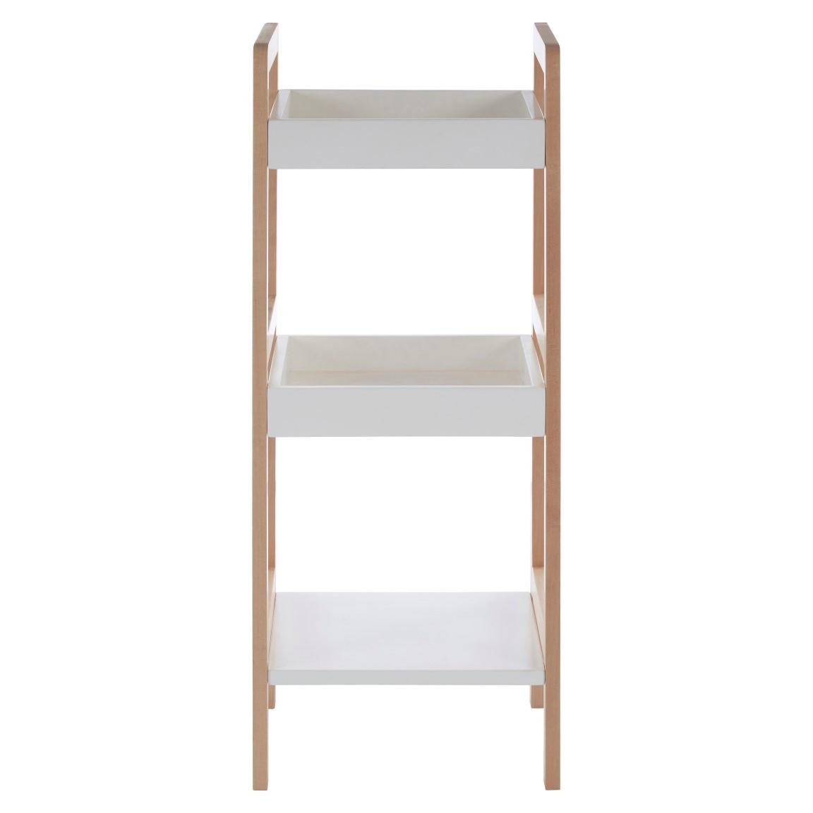 3 Tier Bathroom Shelf Birch Wood + MDF | White