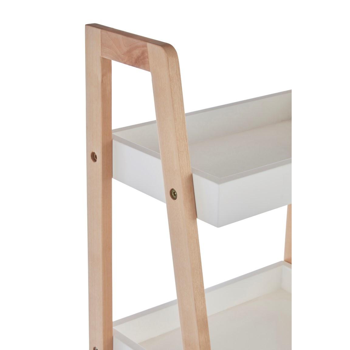 4 Tier Bathroom Shelf Birch Wood + MDF | White