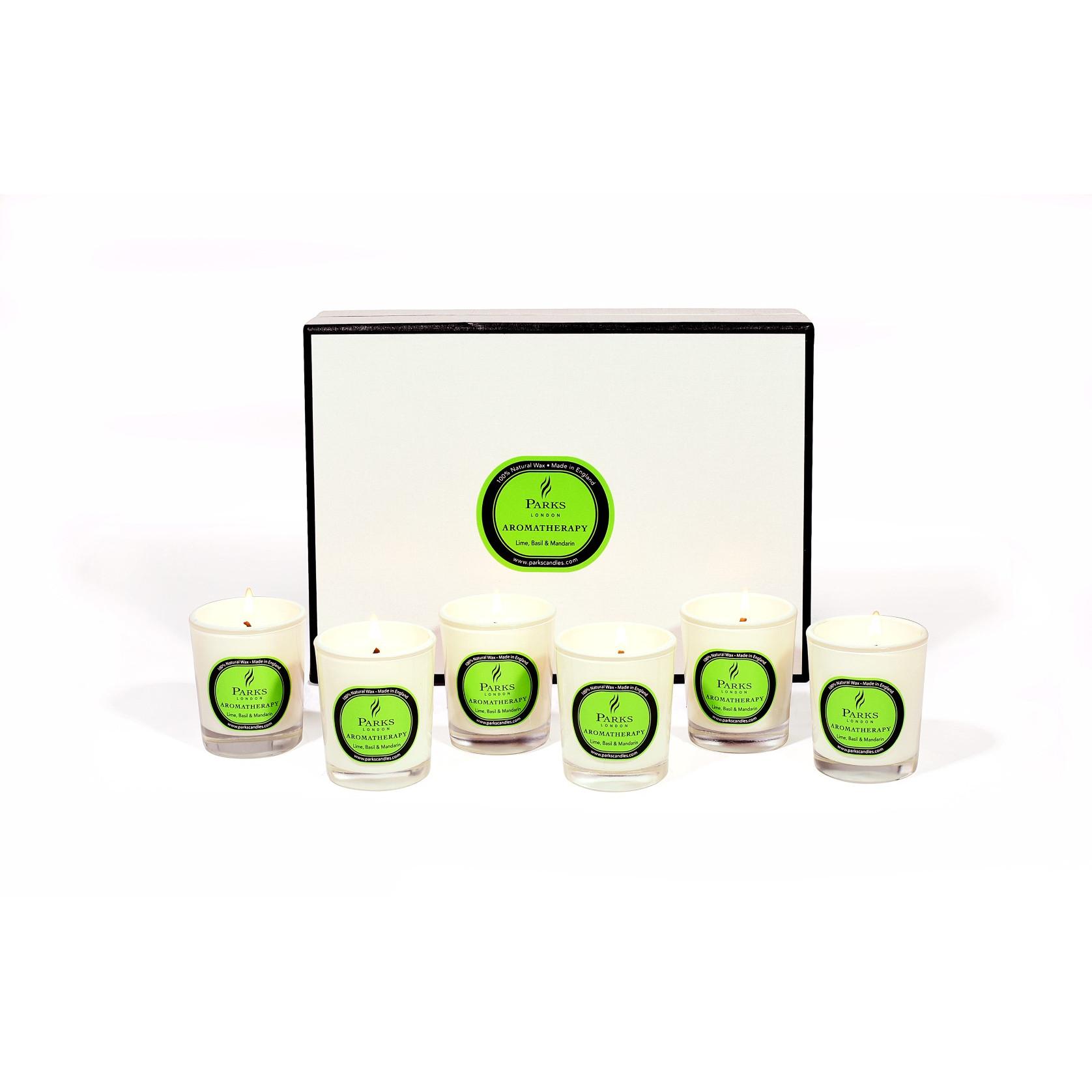 Duftkerzen-Set mit 6 Stück Limette, Basilikum und Mandarine