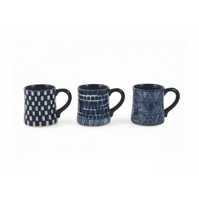 Mug Masai Set of 3   Blue