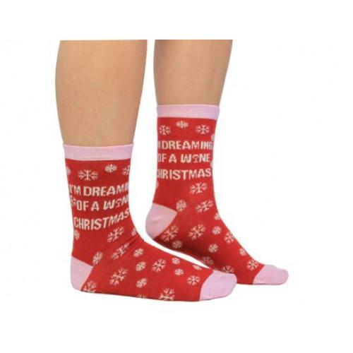 Socken Frauen Wine Christmas
