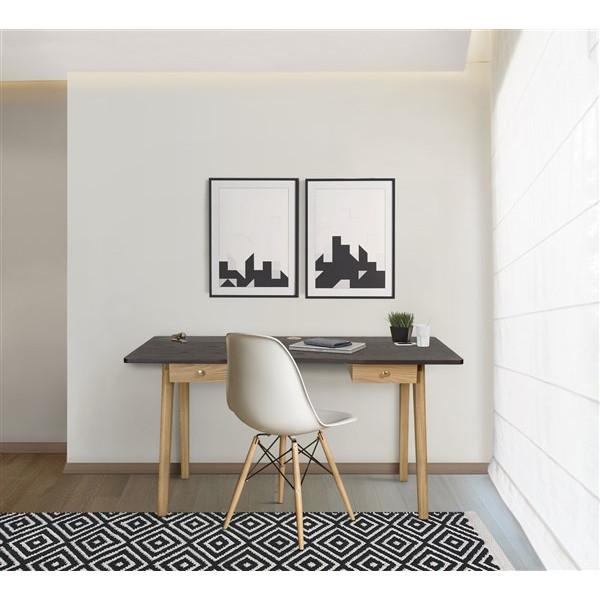 Schreibtisch Nice   Rauchschwarz - Eiche