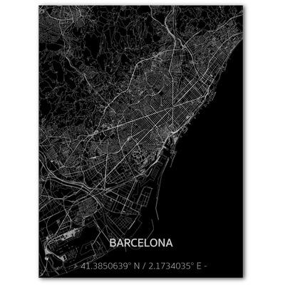 Metal Wall Decoration | City Map | Barcelona-100 x 80 cm