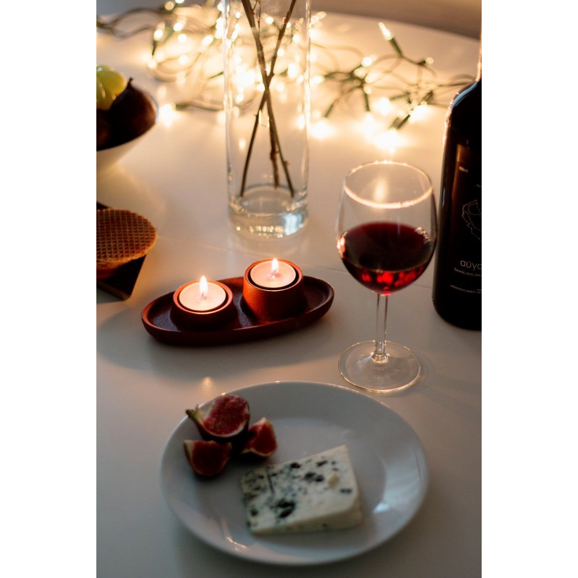 Kerzenhalter für 2 Kerzen | Dunkelgrau