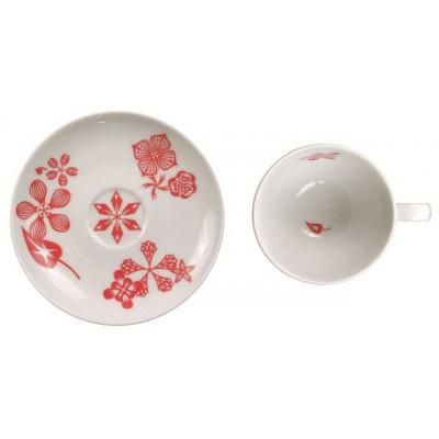 """6er Set Kaffee-/Teetassen mit Untertasse """"Rabbit In Flowers"""" Rot"""