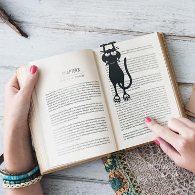 Buchzeichen Katze   Schwarz