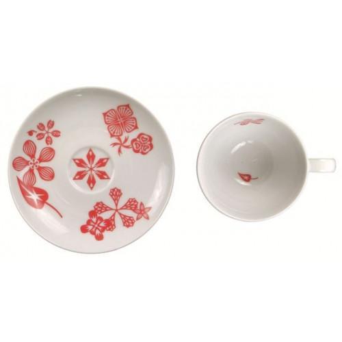 """Lot de 6 tasses à café/thé avec soucoupe """"Lapin en fleurs"""" Rouge"""