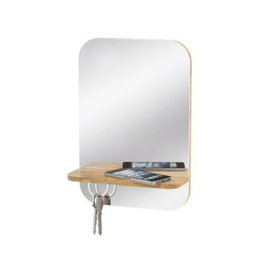 Wandspiegel mit Schlüsselhalter | Buchenholz