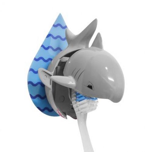 Klebender Zahnbürstenhalter Hai   Grau