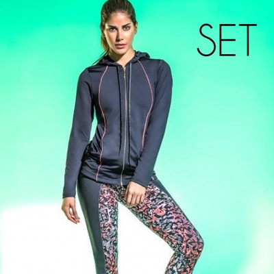 3 Pieces Sportwear (Jacket + Top + Legging)   Grey