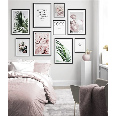 9er-Set Wandkunst Blätter TS18   Multicolour