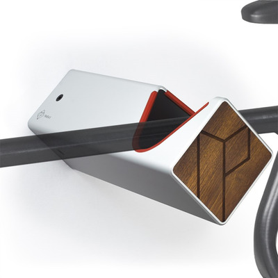 D-Rack Fahrrad-Wandhalterung M | Silber - Kebony - Rot