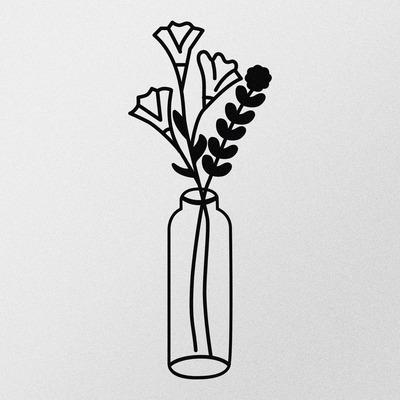 Dekoratives Metall Wandzubehör Blume 2 l Schwarz
