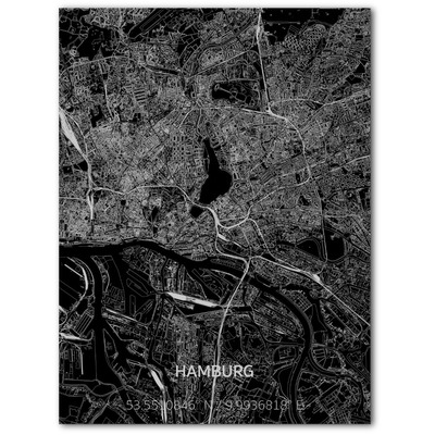 Metal Wall Decoration | City Map | Hamburg-100 x 80 cm