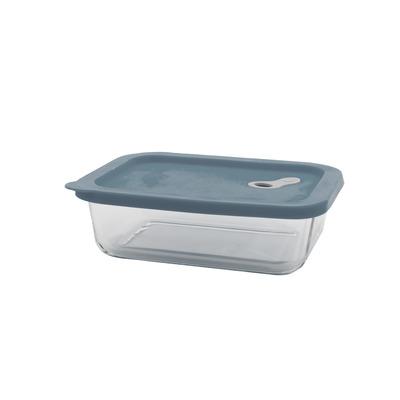 Rechteckige Aufbewahrungsbox aus Glas 1 lt I Hellblau