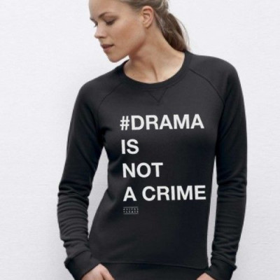 Long Sleeve Sweater # DRAMA IS NOT A CRIME   Black