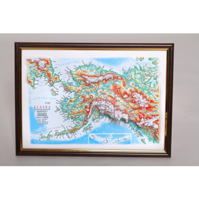 Decorative 3D Map with Panorama Effect Gift Edition   Alaska