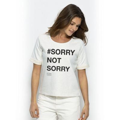 Short Sleeve Sweater # SORRY NOT SORRY | Cream