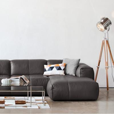 2,5-Sitzer-Sofa mit Chaiselongue Fresno Savoye Leder 0960 | Schwarz