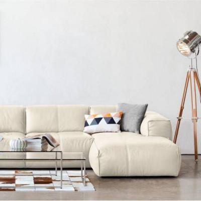 2,5-Sitzer-Sofa mit Chaiselongue Fresno Eton Leder 5060 | Creme