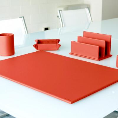 5er-Set Office-Set aus Leder | Rot