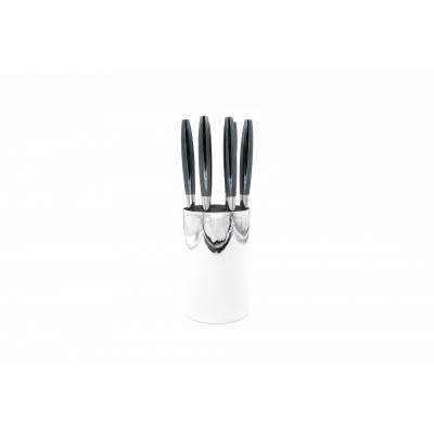 6er-Set Steakmessern + 1 Messerblock Silber
