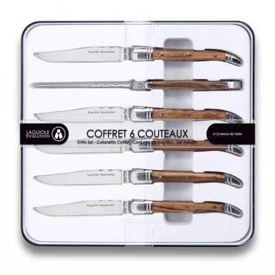 6er-Set Messern Laguiole Evolution | Helles Holz