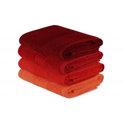 4er Set Handtücher Regenbogen | Rot