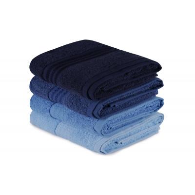 4er Set Handtücher Regenbogen | Blau