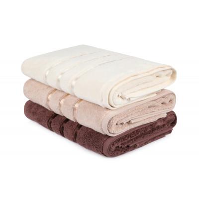 3-er Set Handtücher Dolce | Beige, Creme & Braun