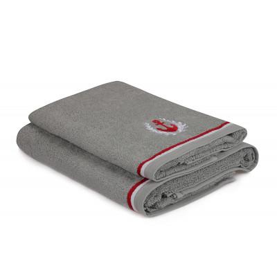 2-er Set Handtücher Maritim | Grau