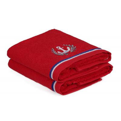 2-er Set Handtücher Maritim | Rot