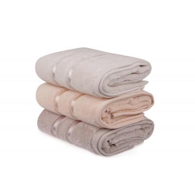 3-er Set Handtücher Dolce | Hellgelb, Lila & Salmon