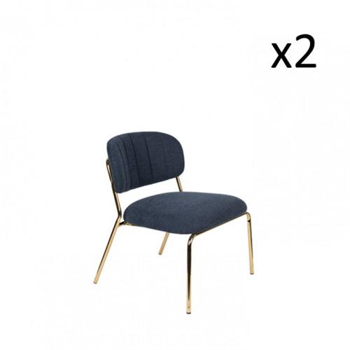 Stuhl Jolien 3100112 | 2er-Set | Dunkelblau & Gold