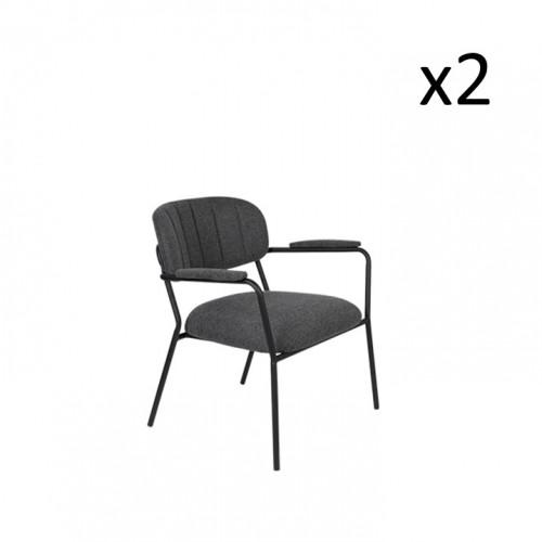 Armchair Jolien 3100125   Set of 2   Dark Grey & Black