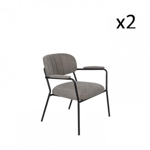 Armchair Jolien 3100126 | Set of 2 | Grey & Black