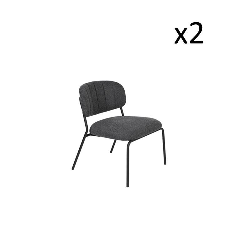 Chair Jolien 3100107 | Set of 2 | Black & Dark Grey