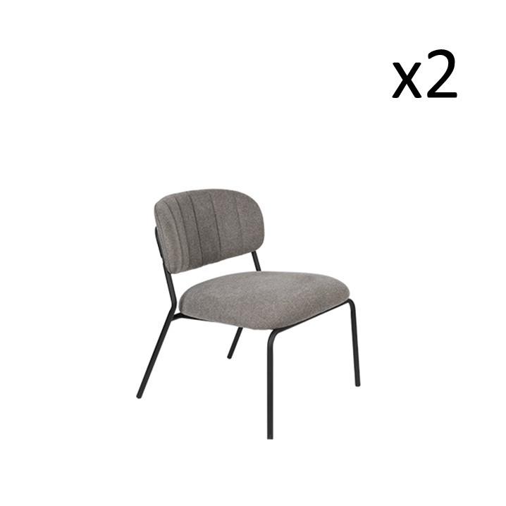 Stuhl Jolien 3100108 | 2er-Set | Grau & Schwarz