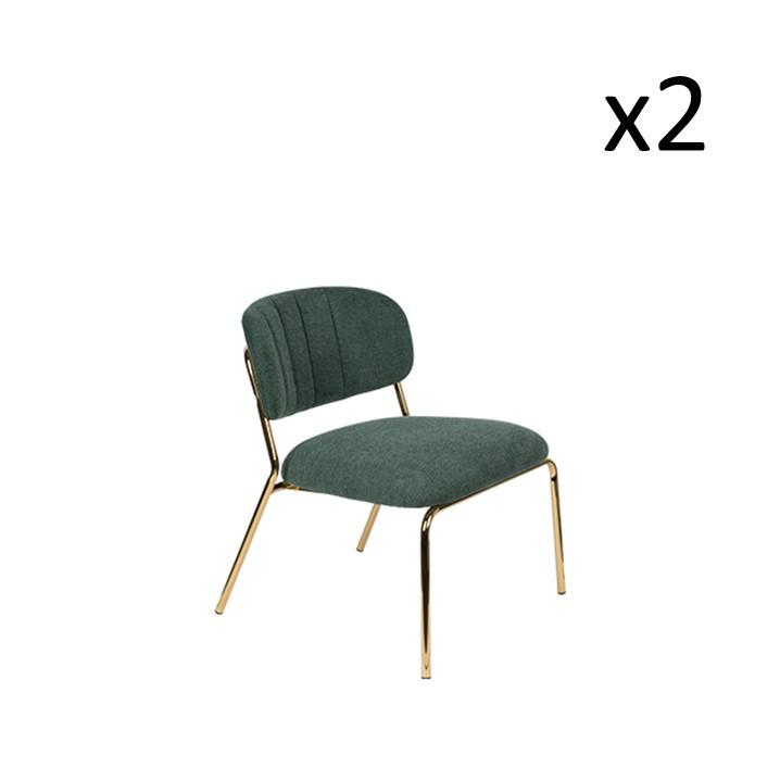 Chair Jolien 3100110 | Set of 2 | Dark Green & Gold