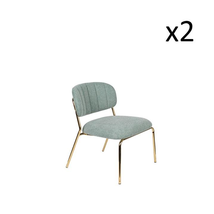 Stuhl Jolien 3100111 | 2er-Set | Hellgrün & Gold