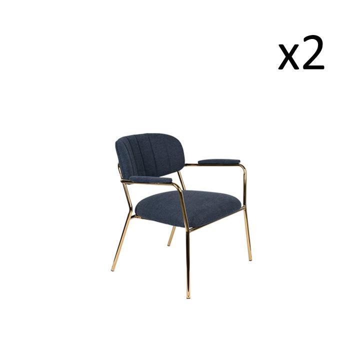 Sessel Jolien 3100130 | 2er-Set | Dunkelblau & Gold