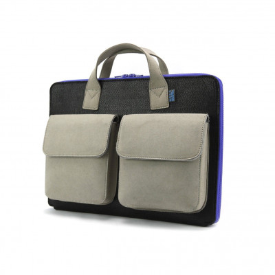 Frank Laptop Briefcase   Stone Grey