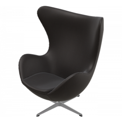 Egg Lounge Chair | Schwarz-Braunes Leder