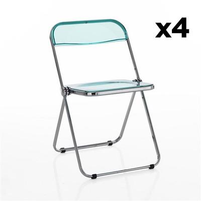 4er Set Stühle Sekka I Transparent-Hellblau