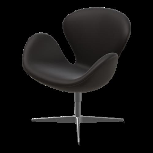 Lounge-Stuhl Swan | Schwarz-Braunes Leder